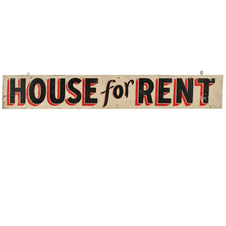 Vintage House For Rent Hand Painted Wood Sign At 1stdibs