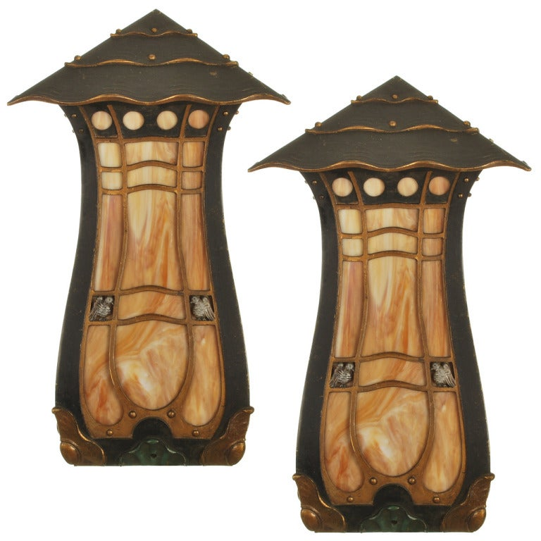 Period arts and crafts corner wall sconces with slag glass for Arts and crafts glass