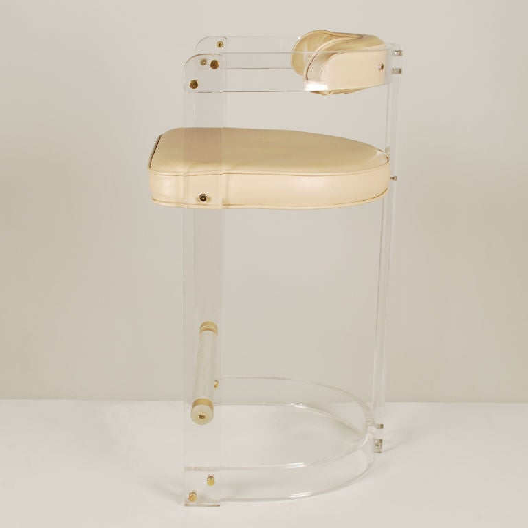 Pair Of Vintage Lucite Bar Stools At 1stdibs
