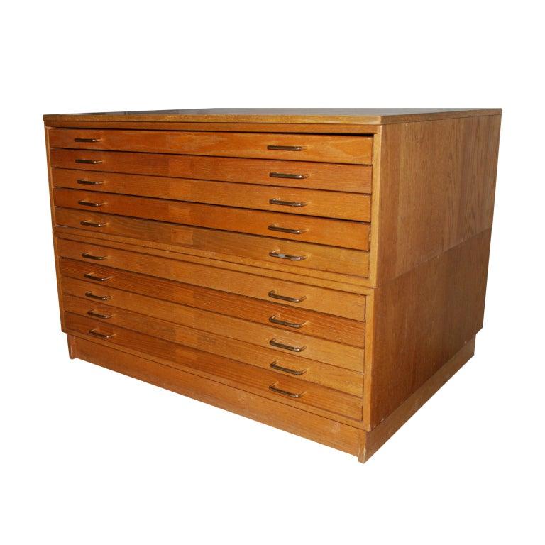 Large Oak Map Cabinet Flat File At 1stdibs