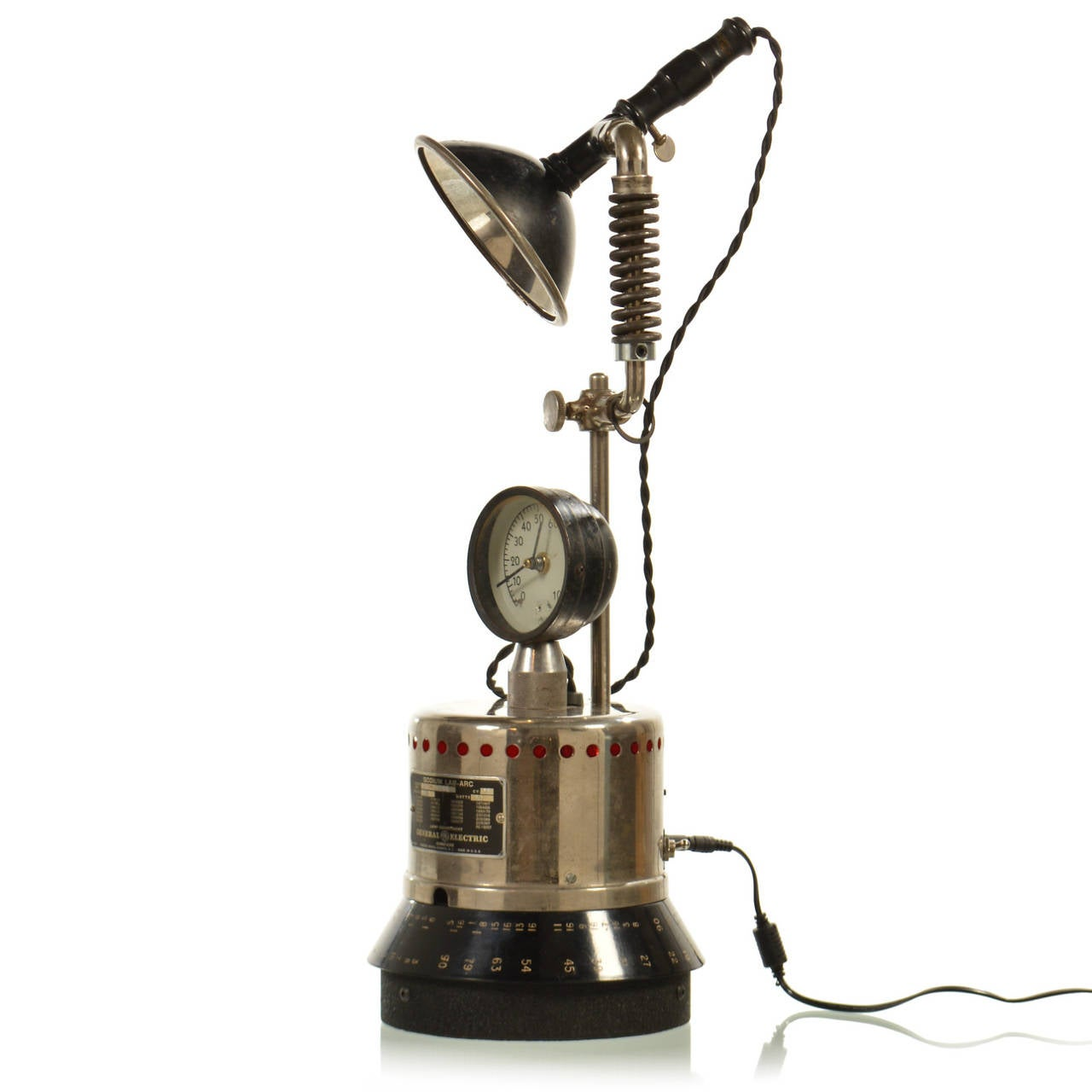 LED Industrial Table Lamp With Clock For Sale At 1stdibs