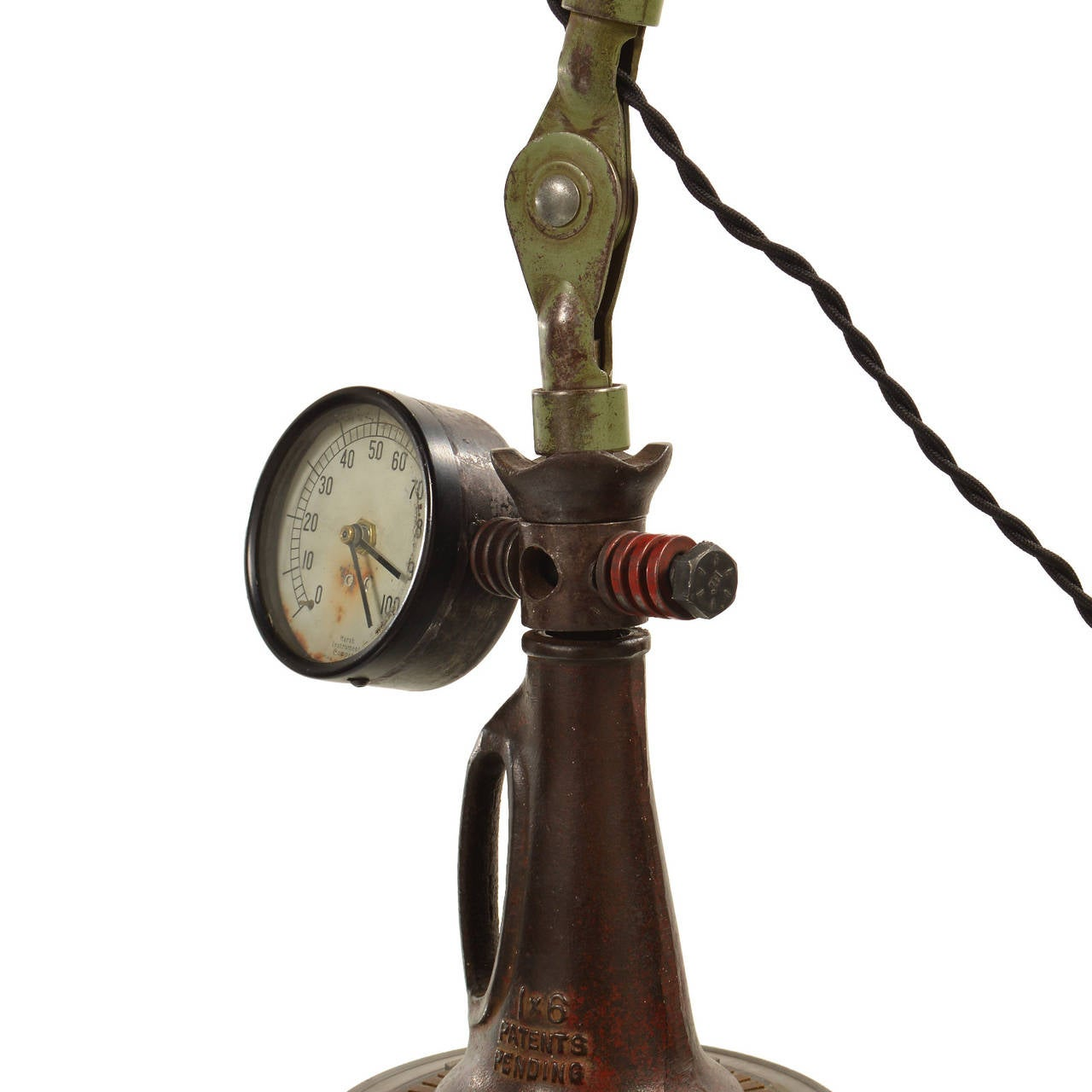 Industrial Steampunk Articulated Table Lamp And Clock For