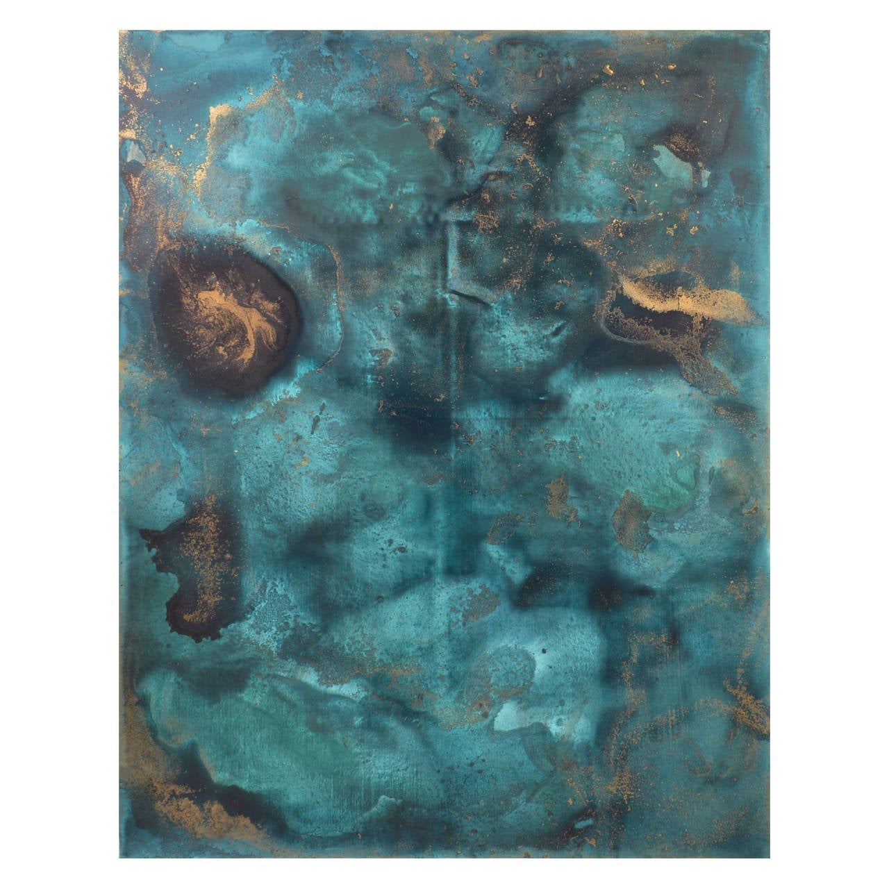 teal and metallic gold original abstract painting at 1stdibs. Black Bedroom Furniture Sets. Home Design Ideas