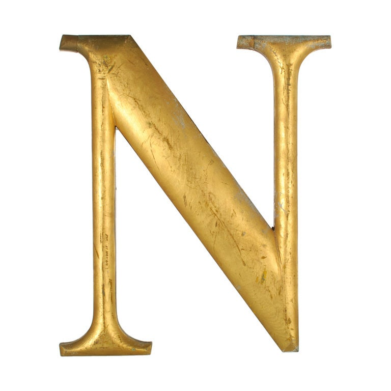 n letter in gold on quotesfab large antique gold leaf letter quot n quot from a sign at 1stdibs 889