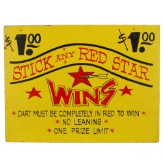 Red Star Dart Game Sign from a Carnival / Circus