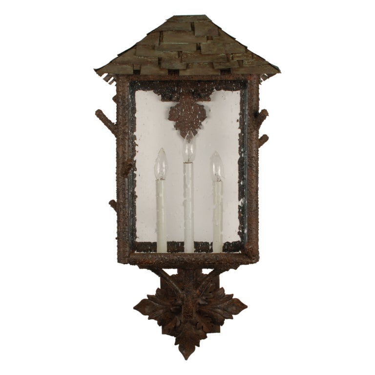 Exterior Copper Wall Sconces : Pair of Large Outdoor Wall Sconces with Copper Roofs at 1stdibs
