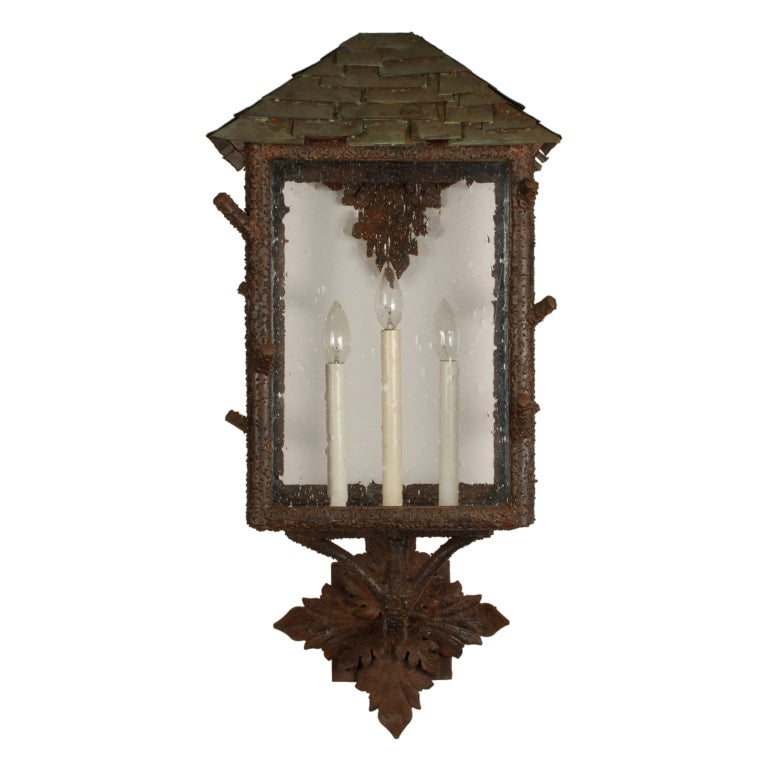 Copper Wall Sconces Outdoor : Pair of Large Outdoor Wall Sconces with Copper Roofs at 1stdibs