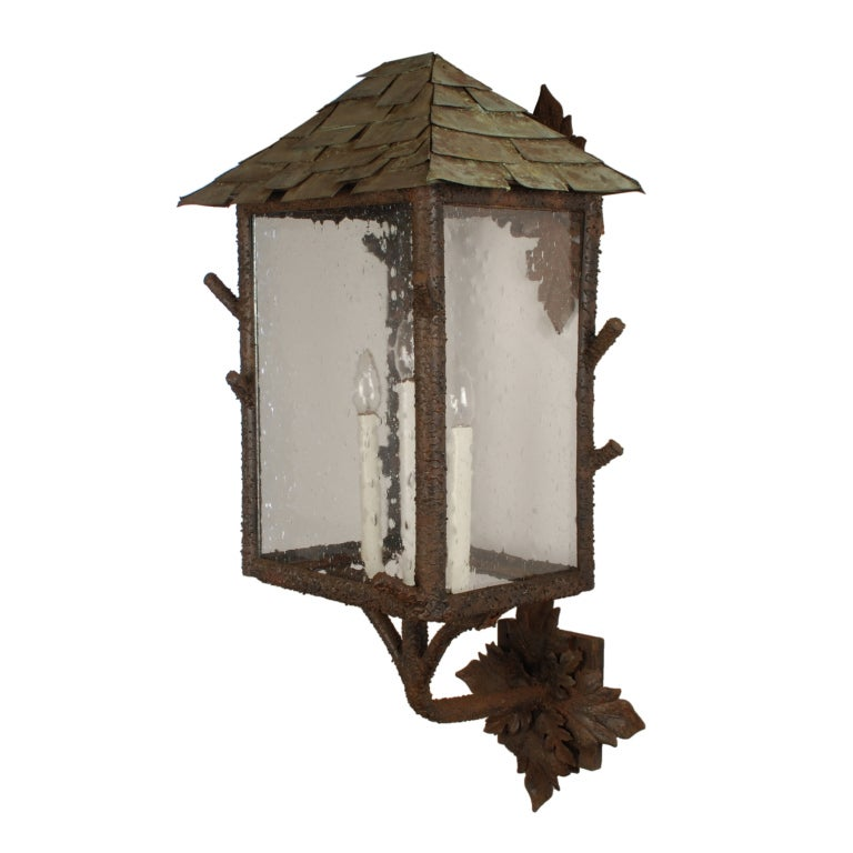 Pair of Large Outdoor Wall Sconces with Copper Roofs at 1stdibs