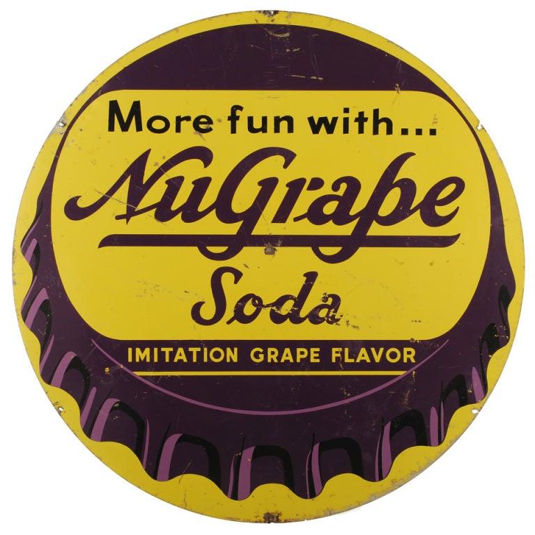Nu Grape Soda Bottle Cap Sign At 1stdibs