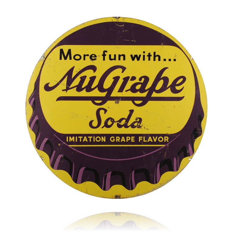 Nu grape soda bottle cap sign for sale at 1stdibs for Soda caps for sale
