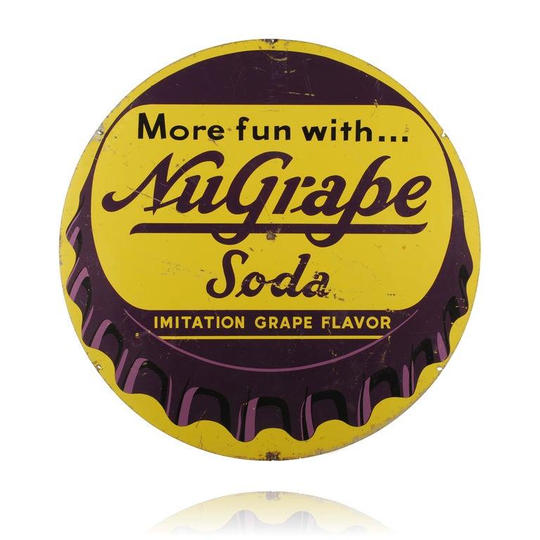 Nu grape soda bottle cap sign for sale at 1stdibs for Soda caps for sale