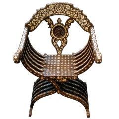 19th Century Syrian Inlaid Chair