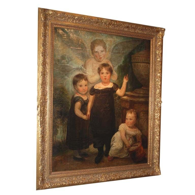 """""""Victorian Mourning Portrait with Children"""" Painting"""