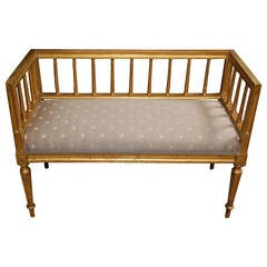 19th c. Swedish Gilded Gustavian Style Bench