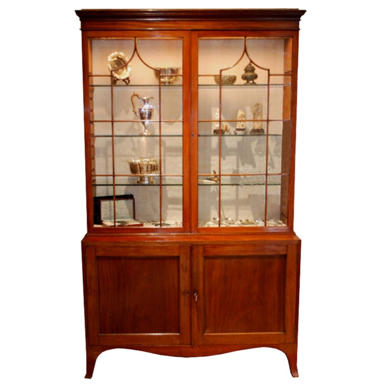 18th c. English Mahogany George III Display Cabinet with 2 Glass & 2 Solid Doors
