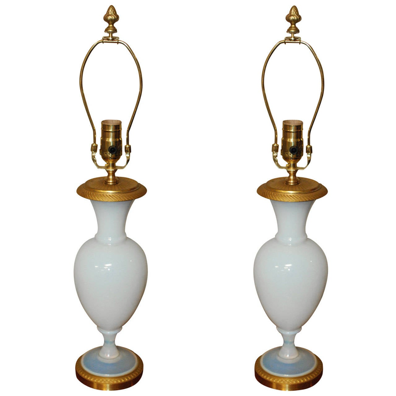 Pair of French Opaline Lamps