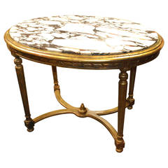 French Table with Oval Marble-Top Gilt Paint