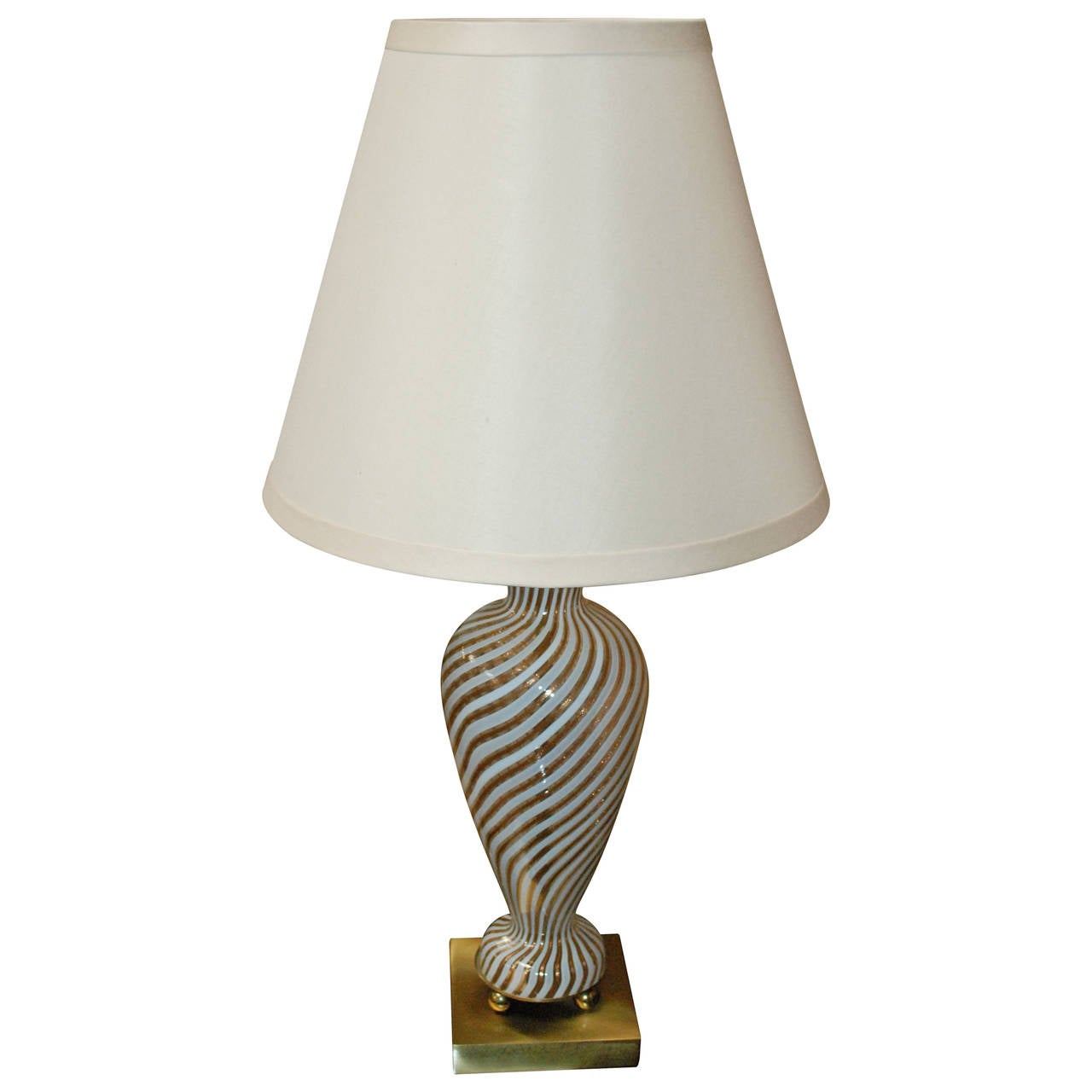 Murano Vintage Lamp With White And Gold Swirls At 1stdibs