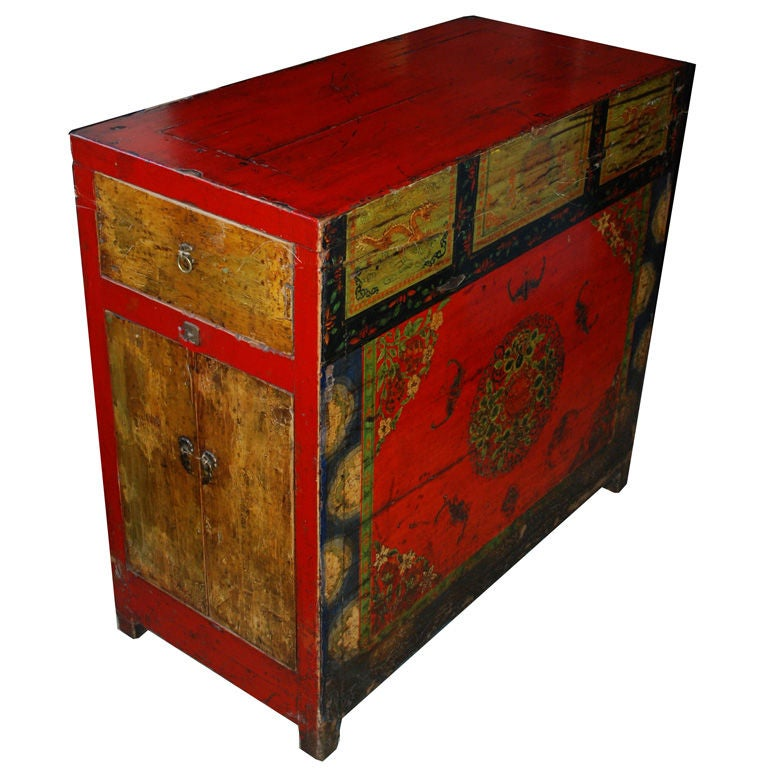 Tibetan Painted Altar Table, 19th Century Or Earlier For Sale