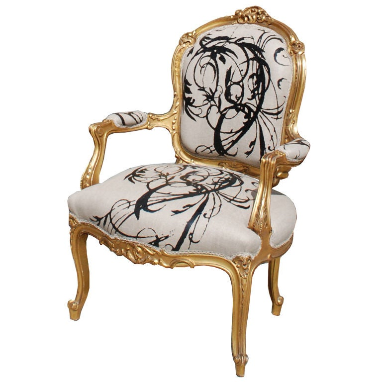 Louis xv style gilded armchair circa 1900 for sale at 1stdibs for Cool armchairs