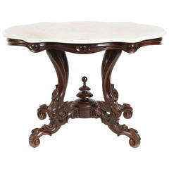 19th Century Indonesian Dutch Colonial Salon Table with Marble Top