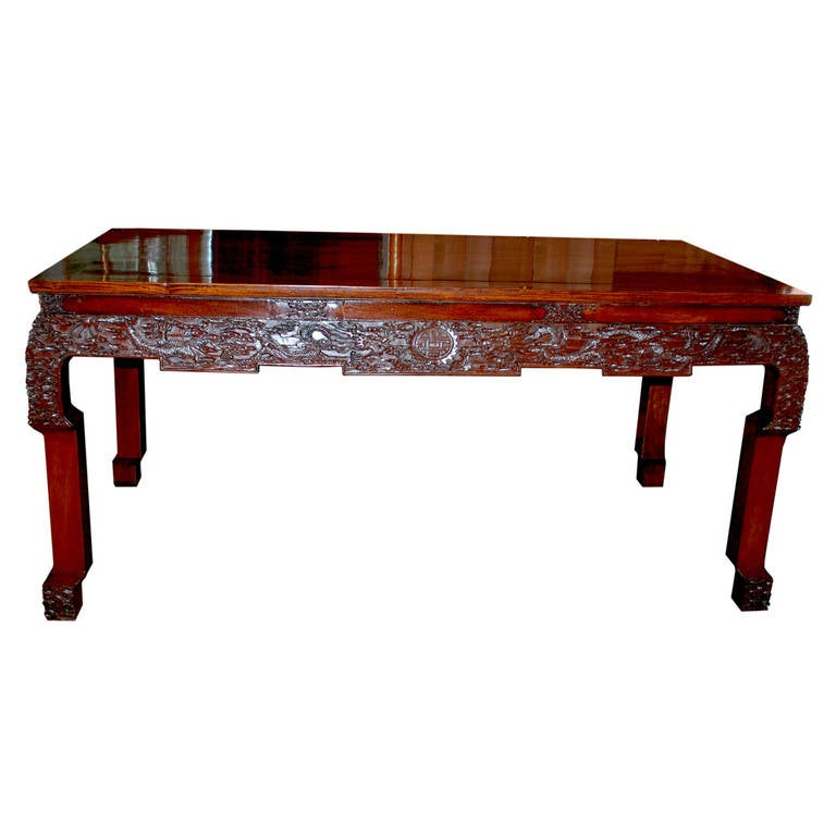 Chinese Dining Table: 19th Century Chinese Rosewood Carved Table At 1stdibs
