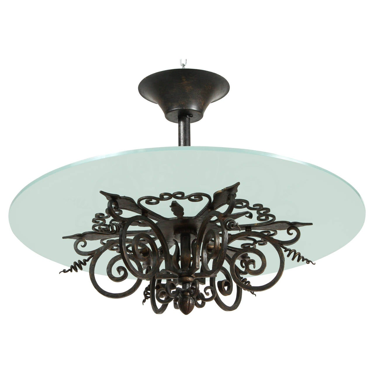 Danish iron and glass chandelier circa 1930 for sale at 1stdibs - Circa lighting chandeliers ...