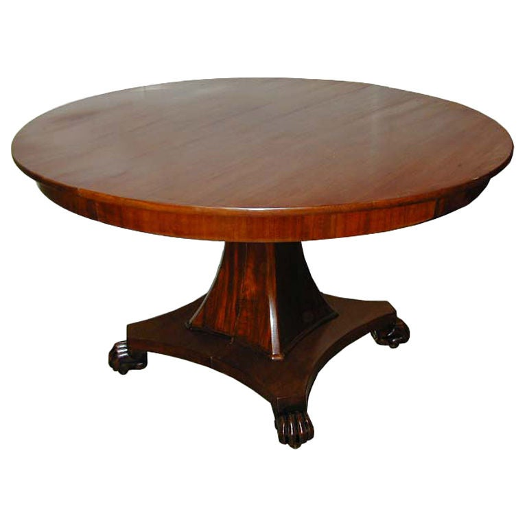 Danish Empire Pedestal Table, Circa 1820