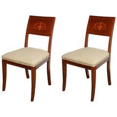 Pair of 19th Century Danish Inlaid Mahogany Chairs