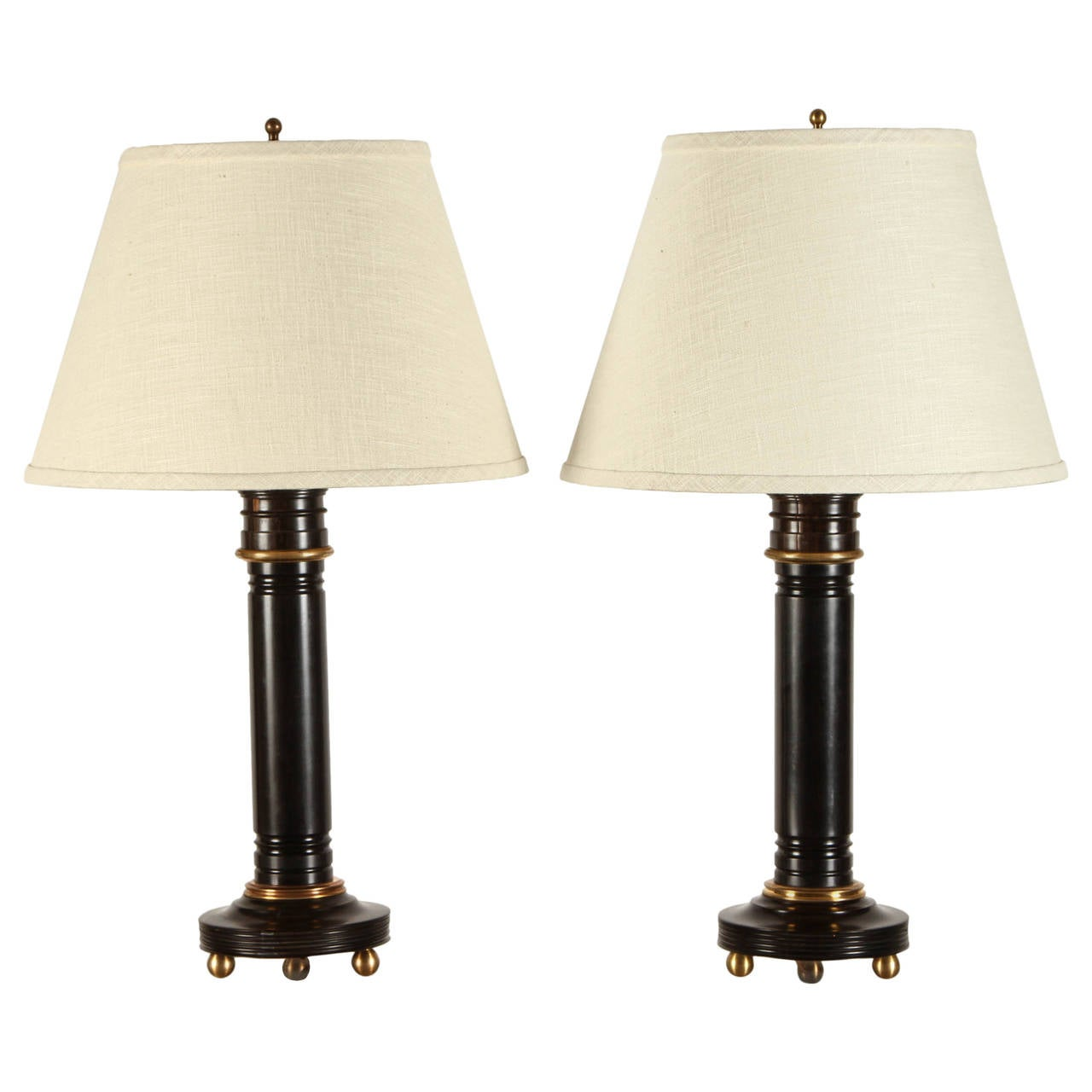 Pair of 20th Century Ebony Lamps