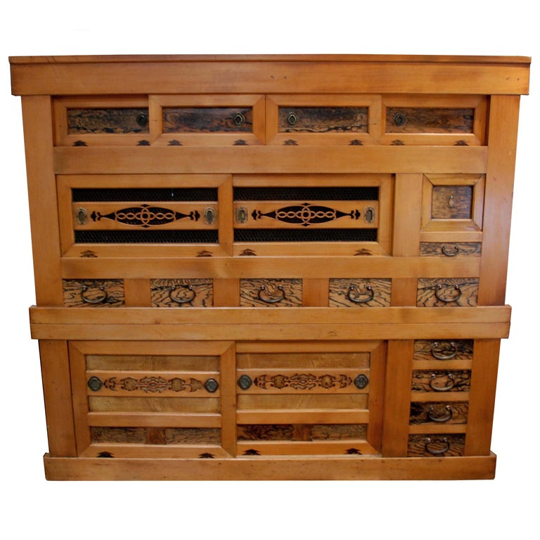 Japanese Kitchen Cabinets: Large Japanese Tansu Cabinet, Meiji Period At 1stdibs
