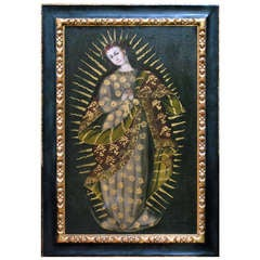 La Virgen Del Carmen - Oil On Canvas - Cuzco School 18th C.