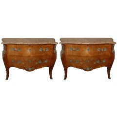 Pair of French Serpentine-Front Chests