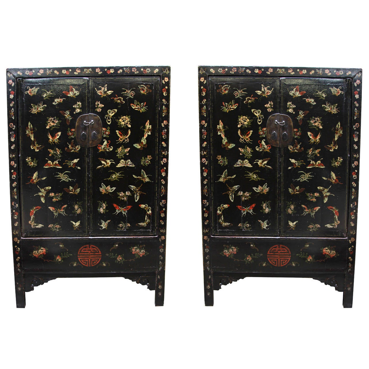 18th Century Chinese Butterfly Cabinets 1