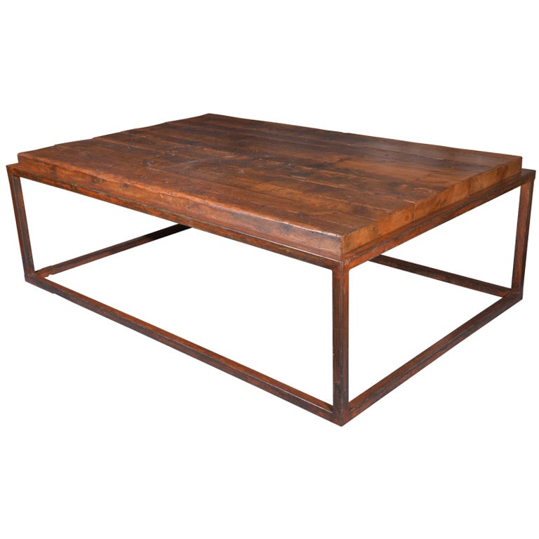 Coffee Table Made From Reclaimed French Pine On Metal Frame At 1stdibs