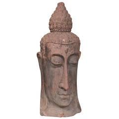 French Terra Cotta Buddha Head Sculpture, circa 1960