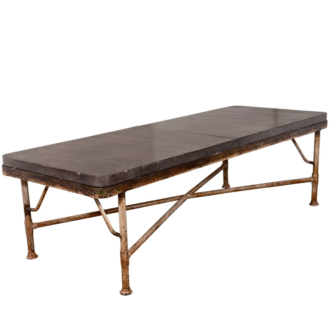 Industrial Transitional Coffee Table With Steel Base With Limestone Top At 1stdibs