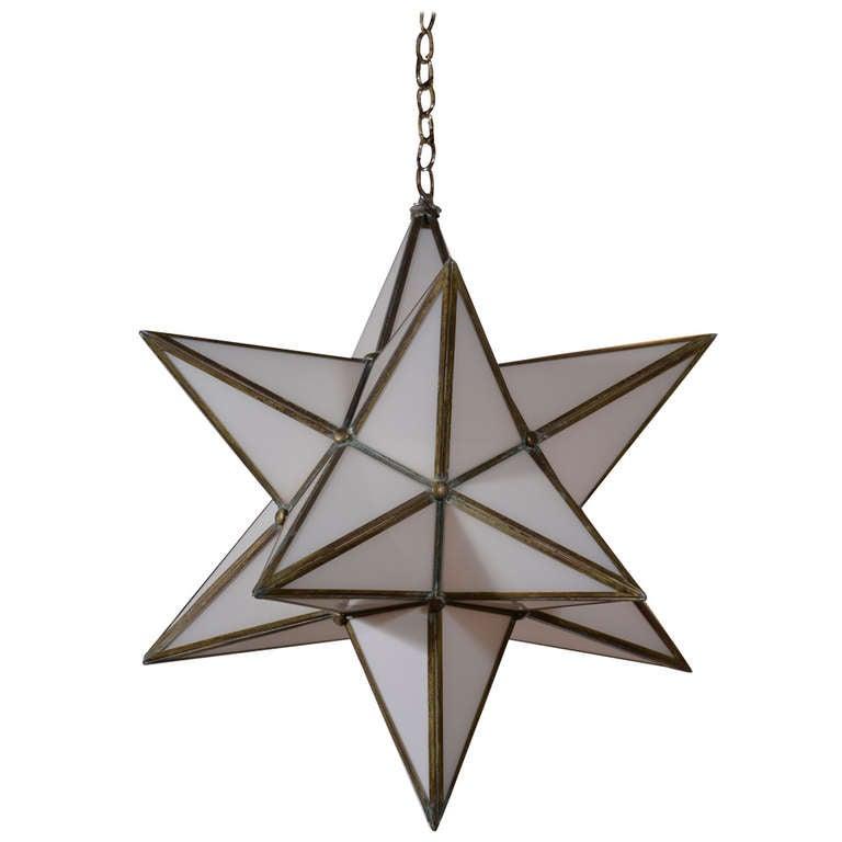 White glass star hanging lantern at stdibs