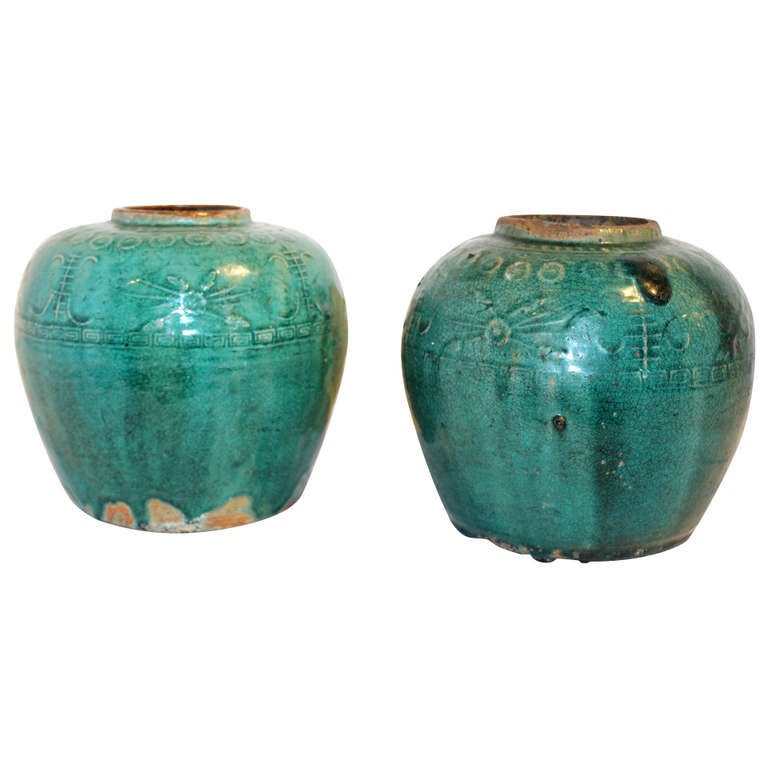 Green Terra Cotta : Antique chinese terra cotta green glazed oil jar at stdibs