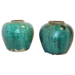 Antique Chinese Terra Cotta Green Glazed Oil Jar