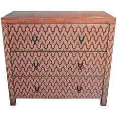 Key Motif Lacquer Chest of Drawers