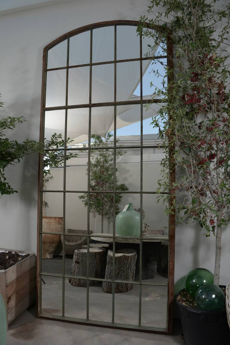 French large iron warehouse fen tre frame as mirror for Fenetre french