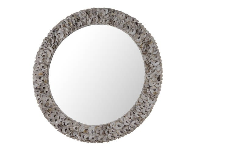 Kipling Round Mirror With Authentic Oyster Shells At 1stdibs