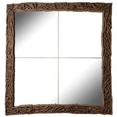 Large Teak Twig Mirror
