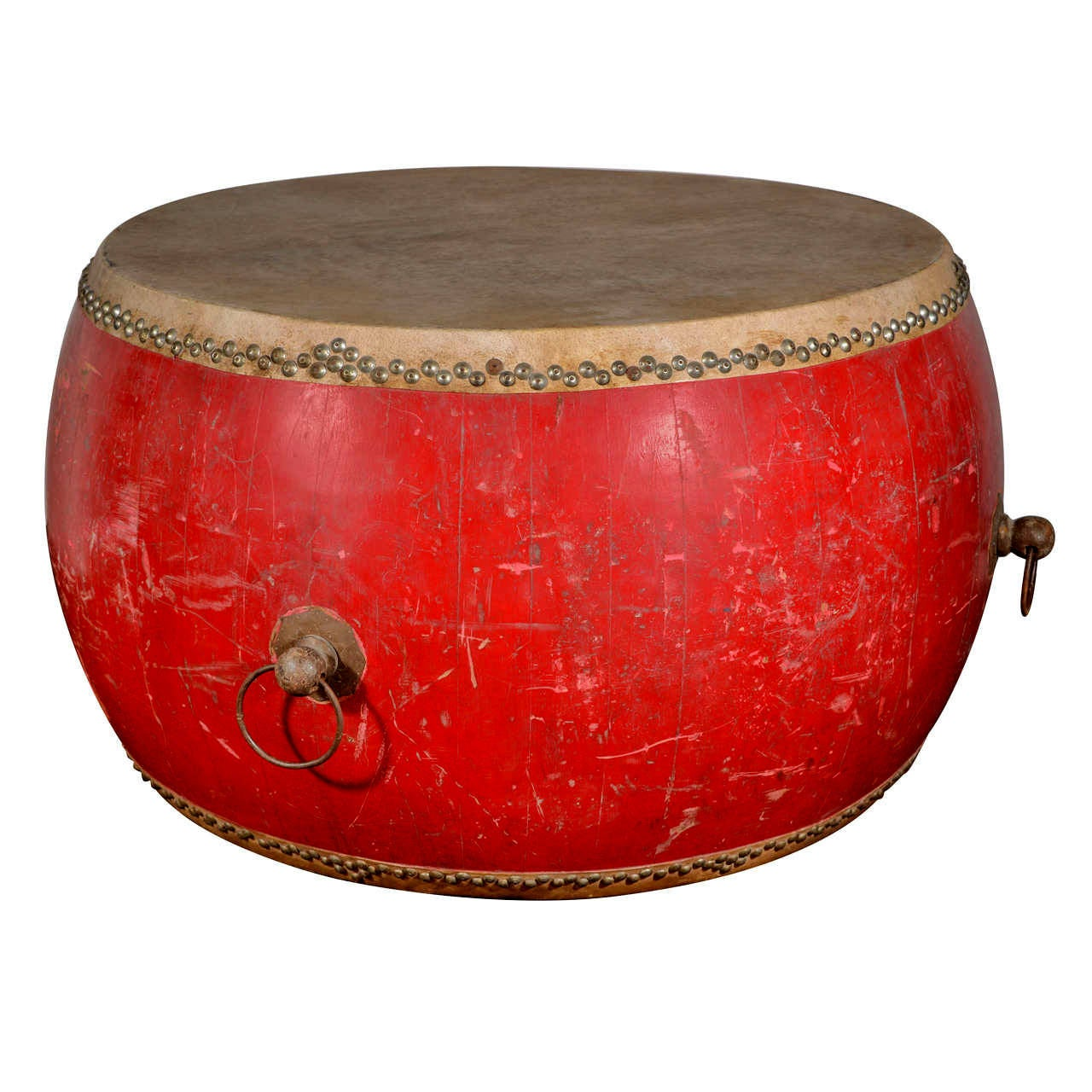Chinese Drum Coffee Table: Chinese Large Ceremonial Drum As Unique Center Table Or