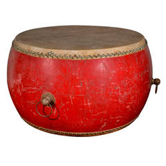 Chinese Large Ceremonial Drum as Unique Center Table or Dining Table