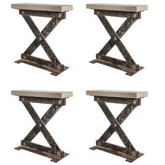 """Industrial French """"X"""" Side Tables"""