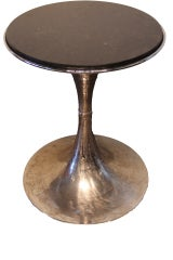 Vintage French Chromed End Table With Granite Top