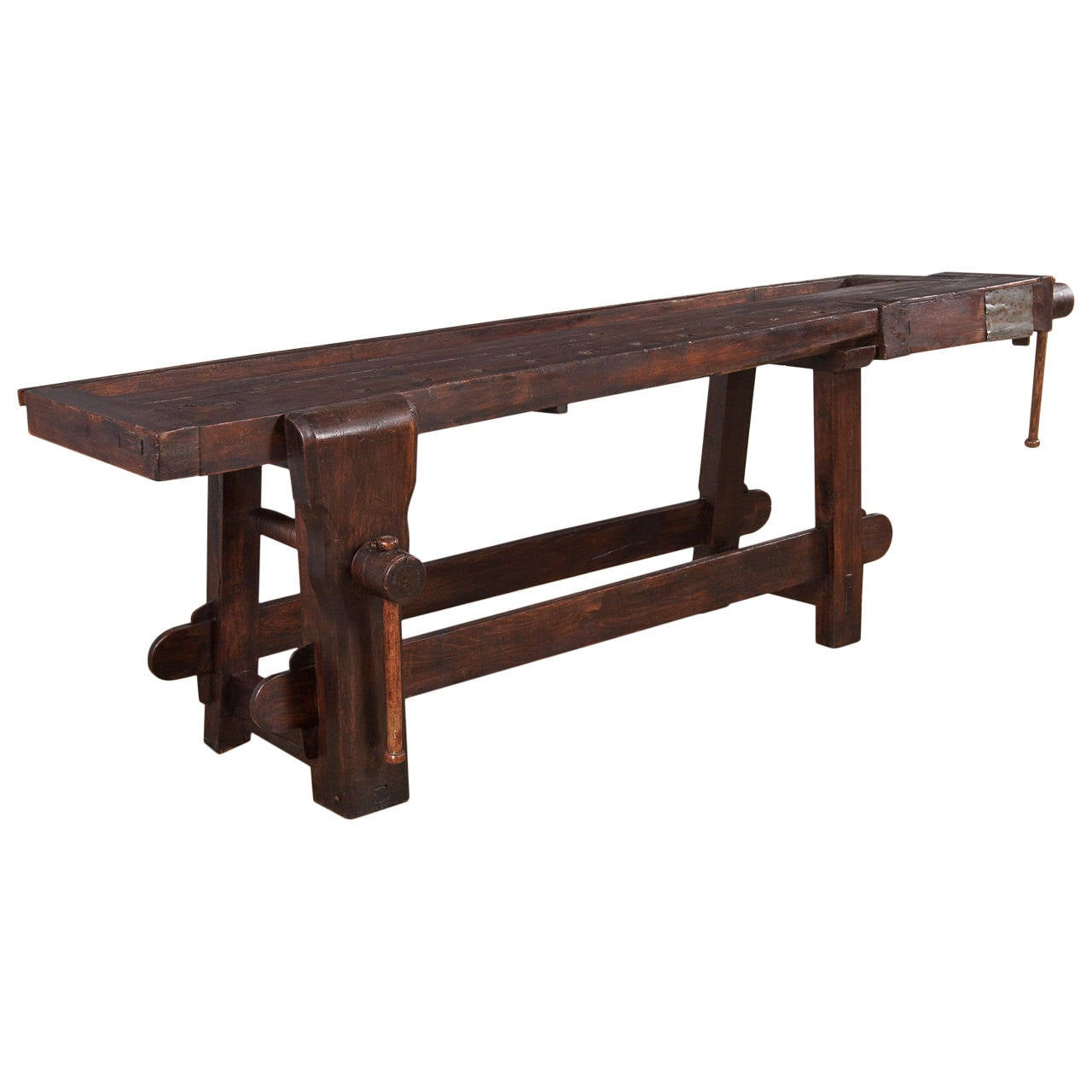 "French Country 19th Century Chestnut ""Etabli"" Carpenter's Workbench For Sale"