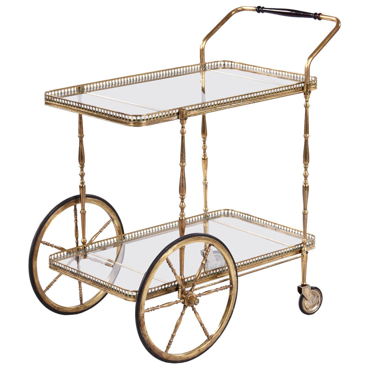 mid century french brass bar cart at 1stdibs. Black Bedroom Furniture Sets. Home Design Ideas